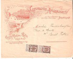 """Très Belle Bde D'IMPRIME Illustrée """"Compagnie Anglaise"""" PAIRE N° 315 BRUXELLES/00 Affr.4 Cent.v/St.Denis - Precancels"""