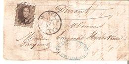 LAC TP. N° 14 DISTRIBUTION 36/ANTHEE Du 14/10/1863 Vers DINANT (au Verso) - 1863-1864 Medallions (13/16)