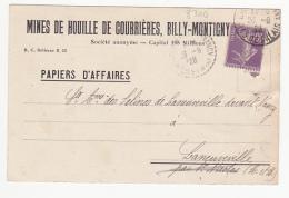 Mines De Houille De Courrières, Billy Montigny - 1928 - Marcophilie (Lettres)