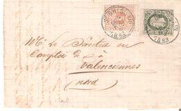 LAC TP. N° 28-30 Càd ST.GHISLAIN Du 7/10/1883 V/VALENCIENNES. PORT FRONTALIER (15 Cents) - 1869-1883 Leopold II