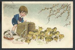 +++ CPA - Carte Fantaisie - Pâques - Paaschfeest - Easter - Enfant - Poussin   // - Pâques