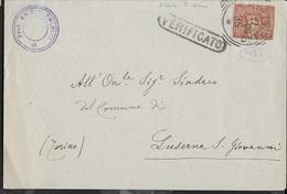 STORIA POSTALE REGNO- ANNULLO TONDO RIQUADRATO ASCOLI PICENO  17.04.1899 PER LUSERNA S.GIOVANNI - 1878-00 Umberto I