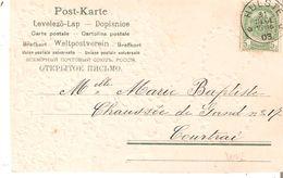 CP.TP. N° 56 Dépôt-Relais  HULSTE Du 31/12/1903 V/COURTRAI - Postmark Collection