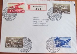 R-Brief TAG DER BRIEFMARKE WINTERTHUR 3.XII.44 Mit Zu F37-39 Mi 435-437 Yv PA 36-38 - Briefe U. Dokumente