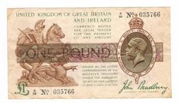1913-19 £1 Note, John Bradbury (2 Scans) - …-1952 : Before Elizabeth II