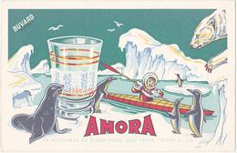 """Buvard """"EFGE"""" Moutarde AMORA / Esquimau, Ours Blanc, Pingouins, Phoque - Mostard"""