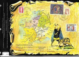 Doc Fdc+ Gravure 14/9/96 , N°3024,  Baptême De Clovis, Visite Du Pape Jean Paul II à Reims, Carte De La Gaule, - Postdokumente