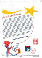 Doc Fdc+ Gravure 16/11/96 , N°3039, Croix Rouge, Fête De Fin D'année, Bonhomme De Neige, Ours Polaire - Documents De La Poste