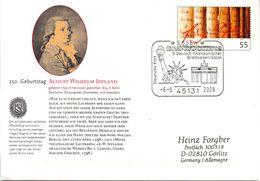"""BRD Amtl.GZS-Umschlag USo 178 """"250. Geburtstag Von August Wilhelm Iffland"""" SSt. 6.5.2009 ESSEN - Buste - Usati"""