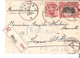 LAC RECOMMANDEE TP. 138-144 Càd BRAIVES Du 21/1/1921 V/LENS ST. REMY Réexpédiée à BRAIVES - Covers & Documents