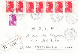 Env Reco Affr Y&T 2184 + 2319 X 7 Obl NEUWILLER LES SAVERNE Du 31.8.1985 Adressée à Strasbourg - Marcofilia (sobres)