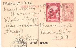EP. Carte 1 Fr.ill. (N° 67-vue 26) + TP. 176 COQUILHATVILLE 15/3/1942 V/HIRAM(USA) DOUBLE CENSURE - Stamped Stationery