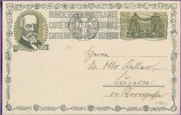 """Schweiz Suisse 1919: Bundesfeier-PK """"Gottfried Keller / Gustave Ador"""" SBK 17 Mit O LUZERN 1.VIII.1919 (SBK CHF 35.00) - Lettres & Documents"""