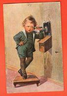 MAR-23  Illustrateur Wally Fialkowska, Enfant Au Téléphone. Circulé Avec Timbre Suisse - Fialkowska, Wally