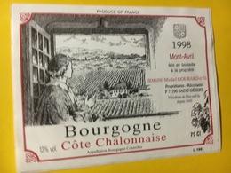 7934 - Mont-Avril 1998 Bourgogne Côte Chalonnaise Collée Sur Papier - Bourgogne