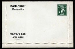 A5235) Schweiz Privatganzsache Kartenbrief Gebrüder Roth Ungebraucht - Ganzsachen