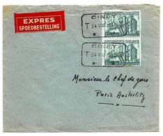 Paire N° 772 Obl. Télégraphique CINEY T 24.VII.1948 T En EXPRES V. Paris. Au Dos PNEUMATIQUES De PARIS. TB - Belgium