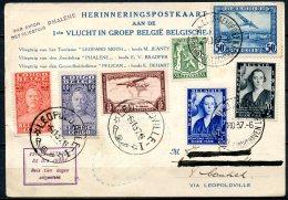 BE   Aérophilatélie  --  1937    ---  Carte Vol Groupé  - Cachet Retardé --  Avion Phalène  --  Bruxelles - Léopoldville - Marcophilie