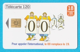 Télécarte 120 Pour Appeler L'international,le 00 Remplace Le 19 - Francia