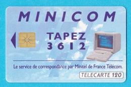Télécarte 120 Minicom Service De Correspondance Par Minitel - Francia