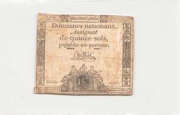 Assignat Quinze Sols An Quatrième De La Liberté, Série 1917 - Assignats
