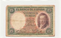Espagne Billet De 25 Pesetas 1931 ( Déchirures ) - [ 2] 1931-1936 : Repubblica