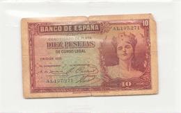 Espagne Billet De 10 Pesetas 1935 ( Déchirures ) - 10 Pesetas