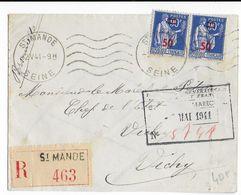 1941 - ENVELOPPE RECOMMANDEE De ST MANDE ADRESSEE PERSONELLEMENT Au MARECHAL PETAIN à VICHY - Marcophilie (Lettres)