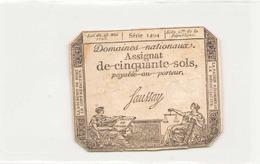 Assignat De Cinquante Sols ( L'an 2 ème De La République ) Série 1494 - Assignats