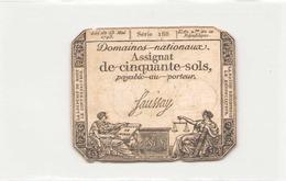 Assignat De Cinquante Sols ( L'an 2 ème De La République ) Série 188 - Assignats