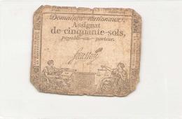 Assignat De Cinquante Sols ( L'an 2 ème De La République ) - Assignats