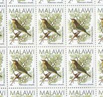 Malawi Sheet Of MNH 2T Birds Definitives Stamps 1988 - Malawi (1964-...)