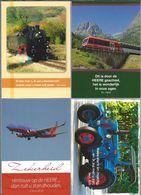 NL.- 4 Tekst Kaarten Van Evangelie Lectuur. Trein, Locomotief 86 333, Vliegtuig, Tractor Merk LANZ. Nieuw. - Christendom