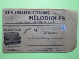 PRODUCTIONS MELODIQUES, LES MUREAUX S & O /ENVELOPPE AVEC ENTÊTE / Timbre Préoblitéré 0,08 /1960 /Ent De BAL CERVON (58) - Postmark Collection (Covers)