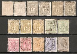 001559 Luxembourg 1882 MH + Used Lot ( 16 Stamps) - 1882 Allegory