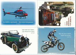 NL.- 4 Tekst Kaarten Van Evangelie Lectuur. Helikopter, Fiat, Auto, Motorfiets. Nieuw. - Christendom