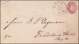Sachsen Umschlag U 16A Wappen 1 Ngr. Nummer 15 ZITTAU 4.3.1864 Nach Friedeberg - Sachsen