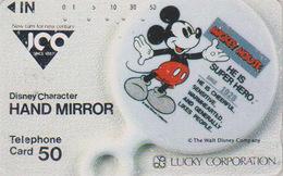 Télécarte Japon / 110-011 - DISNEY **  LUCKY CORPORATION ** Série HAND MIRROR - Mickey Mouse - Japan Phonecard - Disney