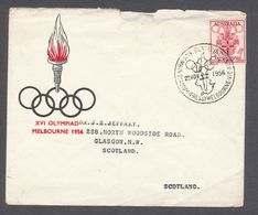 1956 Australia Commemorative Cover To Scotland Melbourne Olympics - Summer 1956: Melbourne