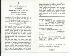 B.P.  VURSTE   DE  VOGELAERE  RENE 1884 - 1965 GENT - Religion & Esotericism