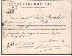 RECU De 5 Frs.oblit. ELLIPTIQUE PD/BRUXELLES Du 24/5/1873 - Belgium