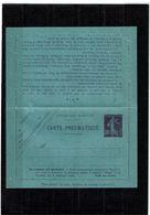 CTN27 - CARTE LETTRE PNEUMATIQUE SEMEUSE CAMEE 30c DATE OBLIQUE 021 26 VILLES AU VERSO - Entiers Postaux