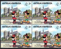 ANTIGUA & BARBUDA    DISNEY   PHILEXFRANCE 1989  BICENTENAIRE DE LA REVOLUTION   Bloc 4 Timbres Neufs - 3 C - Disney