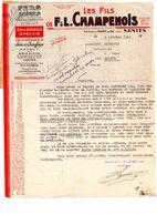 Lettre - Facture - 1943 - NANTES - Les Fils De F & L. CHAMPENOIS - Fers, Aciers - France