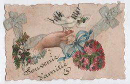 Carte De Vœux Dentelée Et Gaufrée Avec Chromos Fleurs & Ruban / Bonne Année//Foucault/ Eure & Loir / Vers 1900    CVE145 - Nouvel An