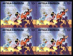 ANTIGUA & BARBUDA    DISNEY   PHILEXFRANCE 1989  BICENTENAIRE DE LA REVOLUTION   Bloc 4 Timbres Neufs - 10 C - Disney