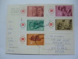 BULGARIA 1964 - Multi-stamped Postcard Sofia To Oxford England - Brieven En Documenten