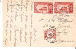 CP Vers Bruxelles Paire TP. 107 TANGER Taxée 30c. Par TTx Belge 35 - Morocco (1891-1956)