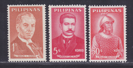 PHILIPPINES N°  537, 539, 543 ** MNH Neufs Sans Charnière, TB (D5710) Personnages Célèbres - Philippines