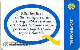 Sweden - Telia - ASG Sweden AB - 30U, 07.1995, 9.000ex, Used - Sweden